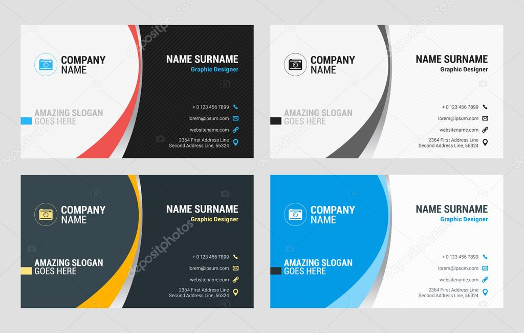 Business Card Vector Template. Flat Style Vector ...
