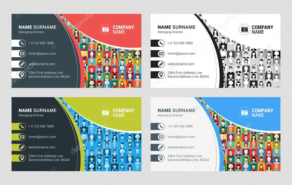 Business Card Vector Template. Flat Style Vector Illustration ...