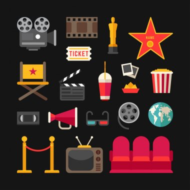 Cinema Concept. Cinema Industry Symbols. Set of Flat Style Vector Icons and Illustrations. Movie Projector, Popcorn, Oscar, 3D Glasses, Movie Theater