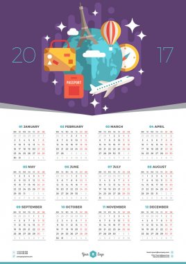 Calendar Design Template for 2017 Year. Week starts Monday. Stationery Design. Vector Calendar Poster with Flat Style Illustration. Travel Concept