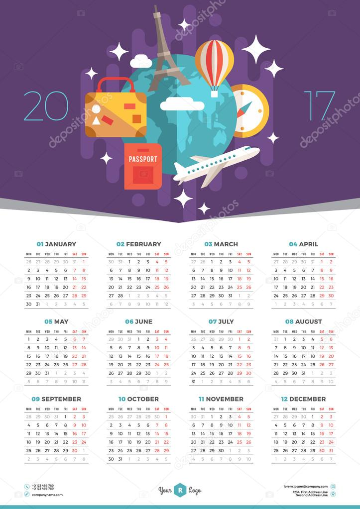 Illustration Calendar Design : Calendar design template for year week starts monday