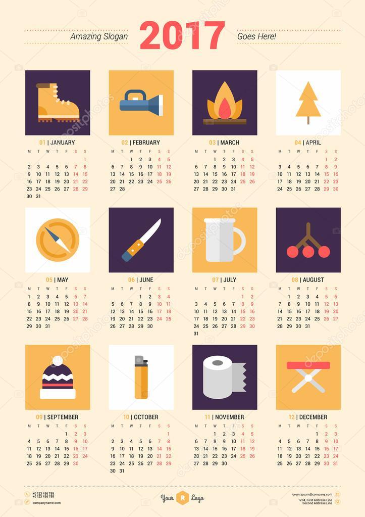 Calendar Design Poster : 년 달력 디자인 템플릿입니다 주 월요일 시작합니다 편지지 디자인입니다 여행 아이콘 벡터