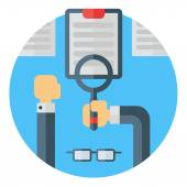 Reading a document with magnifying glass.  Colored flat vector illustration