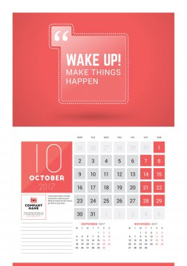 Wall calendar planner print template for 2017 year. October 2017. Calendar poster with motivational quote. 3 Months on page. Week starts Monday