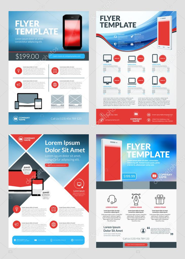 Set of business flyer design templates for mobile application or new set of business flyer design templates for mobile application or new smartphone vector brochure design friedricerecipe Images