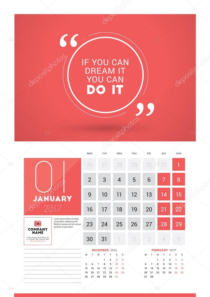 wall calendar planner print template for 2017 year january 2017