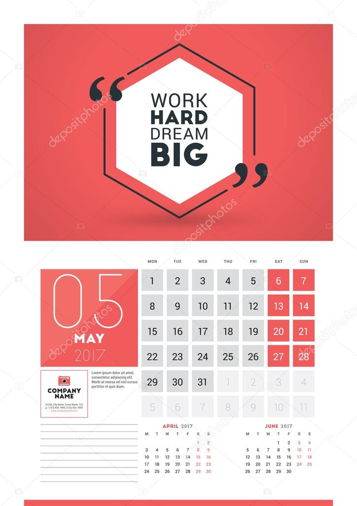 Wall Calendar Planner Print Template For 2017 Year. May 2017. Calendar  Poster With Motivational Quote. 3 Months On Page. Week Starts Monday U2014  Vector By ...
