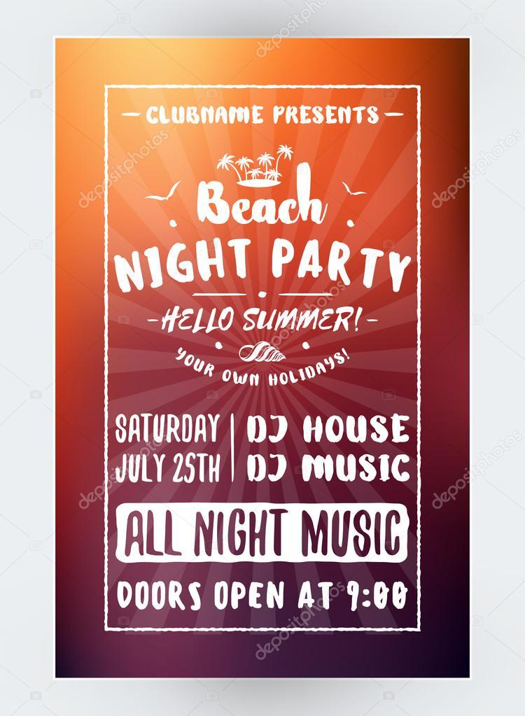 夏のビーチ パーティーのフライヤーやポスター 夜のクラブ イベントです