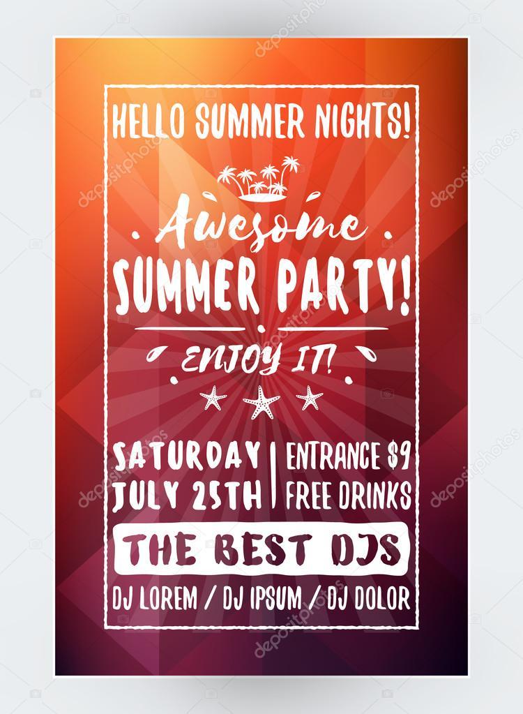 summer beach party flyer ou affiche night club event soir e d t mod le de conception flyer. Black Bedroom Furniture Sets. Home Design Ideas