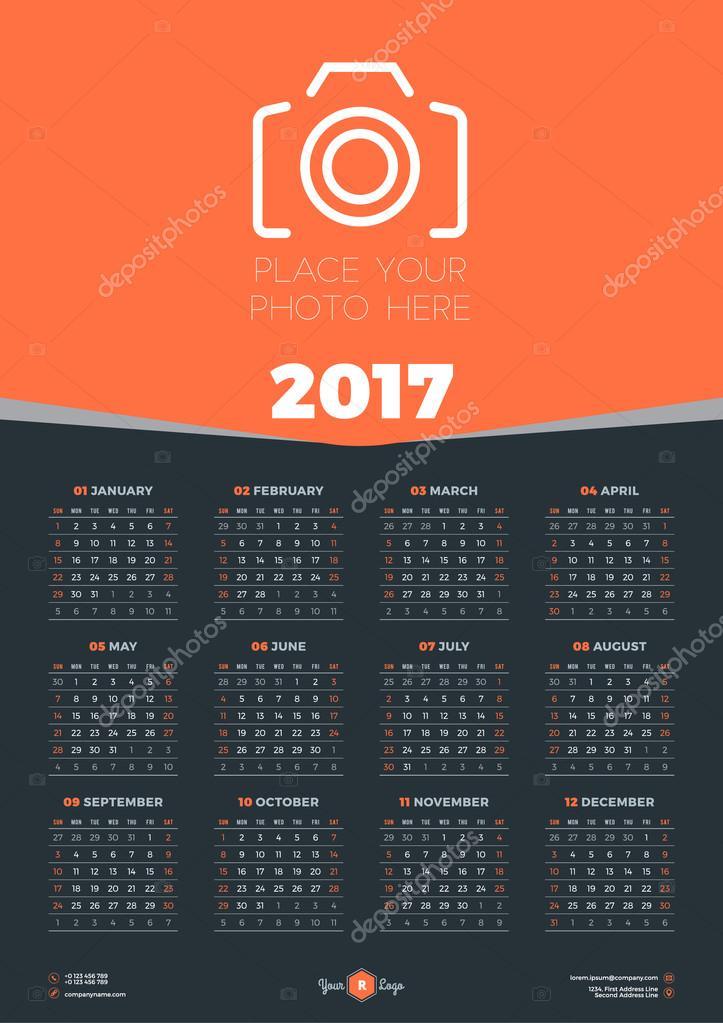 Calendar Poster Design : Calendar design template for year week starts sunday