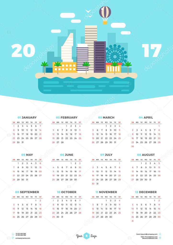 Illustration Calendar Design : Calendar design template for year week starts monday