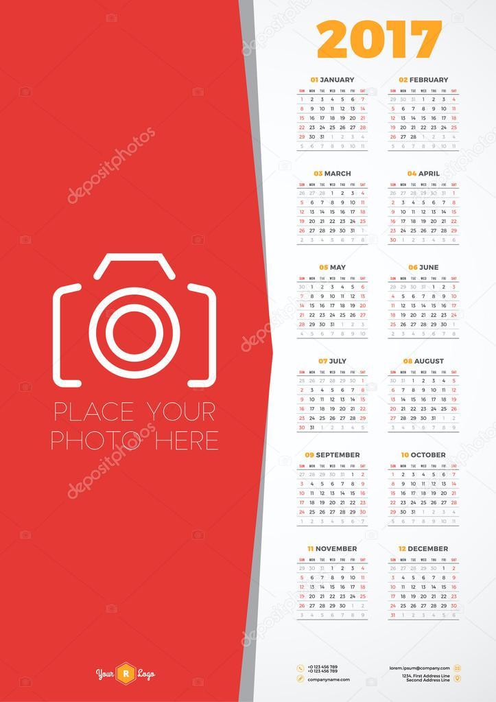 calendar design template for 2017 year week starts sunday