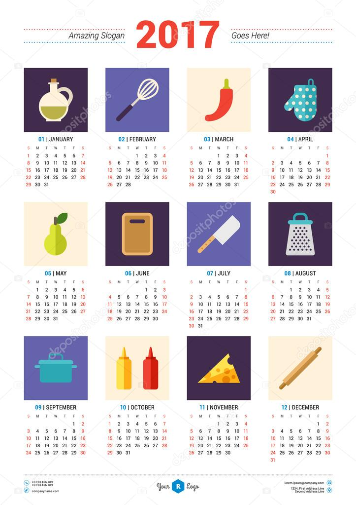Calendar Typography Template : Calendar design template for year week starts monday