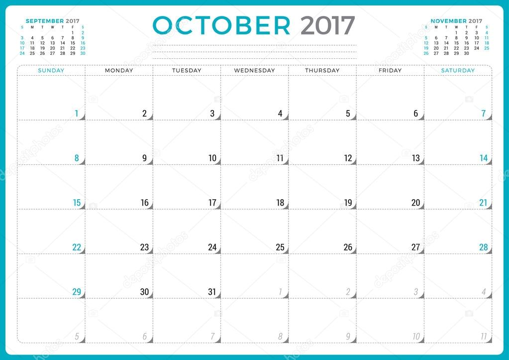 calendar planner for 2017 year vector design template october