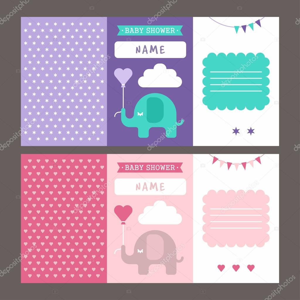 baby shower three fold invitation template for baby boy and baby