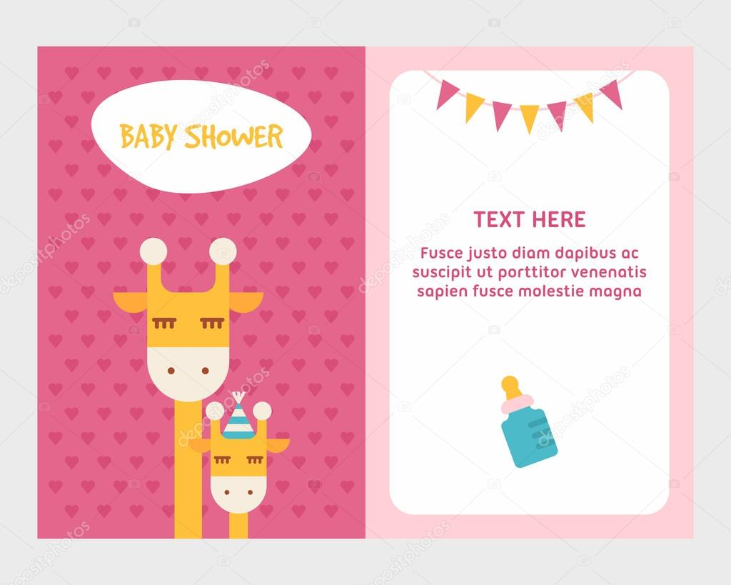 Baby shower invitation card template with giraffee mom and baby baby shower invitation card template with giraffee mom and baby colored flat vector illustartion stopboris Image collections