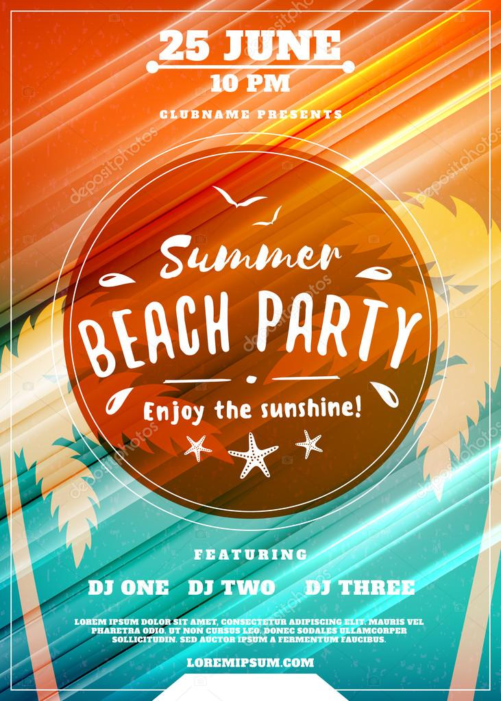 summer beach party flyer or poster summer night party vector