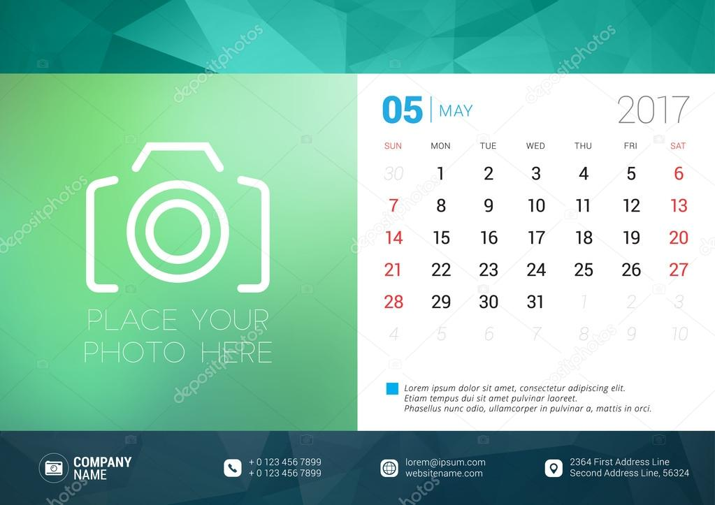 Desk Calendar Template For 2017 Year May Design Template With