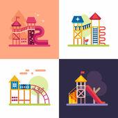 Spielplatz für Kinder. Set von vier farbigen flachen Vektorillustrationen.