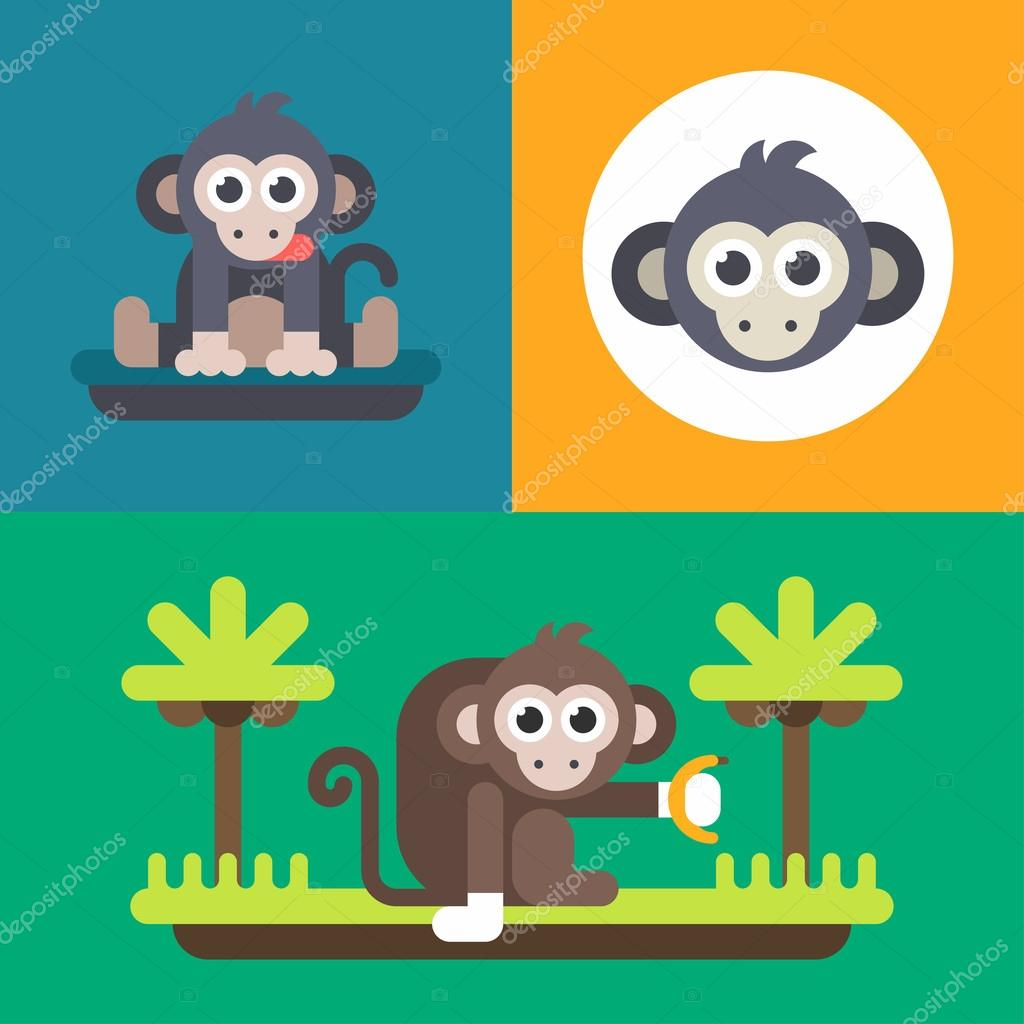 animals a set of three bright illustrations of funny monkey