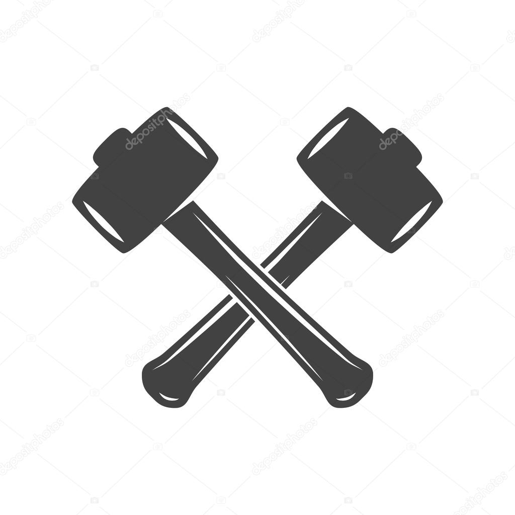 Two Crossed Hammers Isolated On White Background Logo Elements