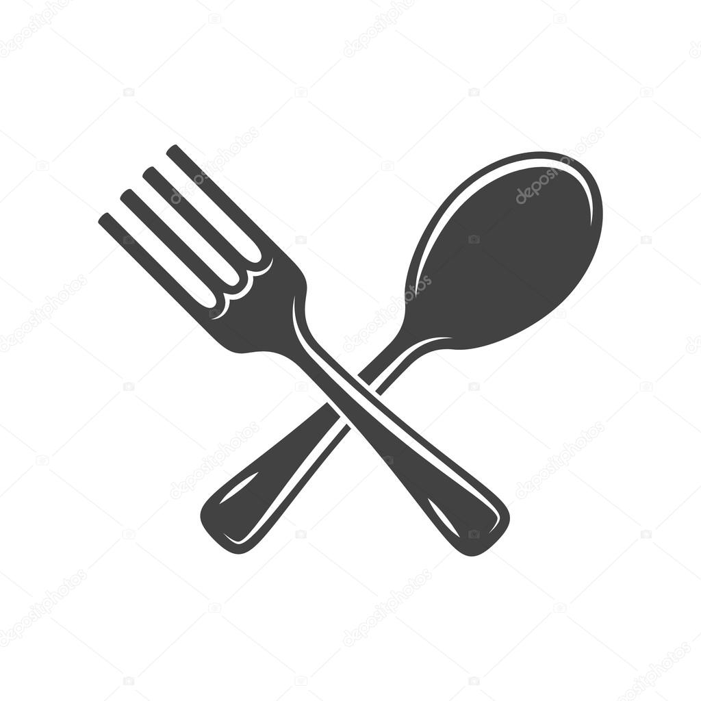 Crossed spoon and fork isolated on white background. Logo ...