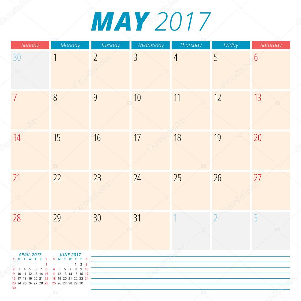 Calendar Planner For May : May calendar planner for year week starts