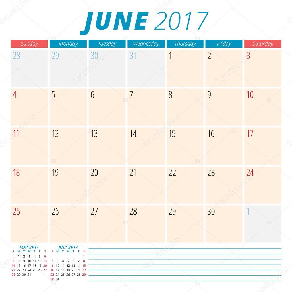 june 2017 calendar planner for 2017 year week starts sunday