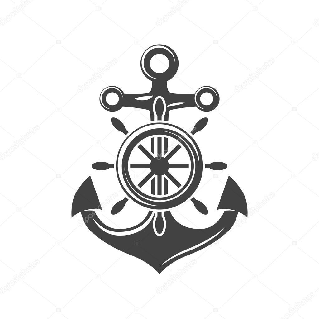 картинка штурвала корабля с якорем внутри домика рисую