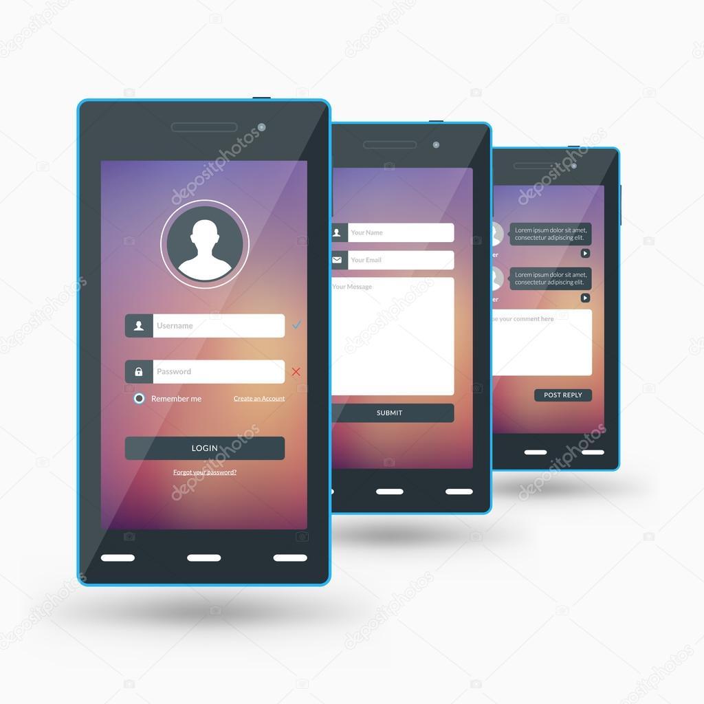flat design template for mobile apps black smartphones vector illustration