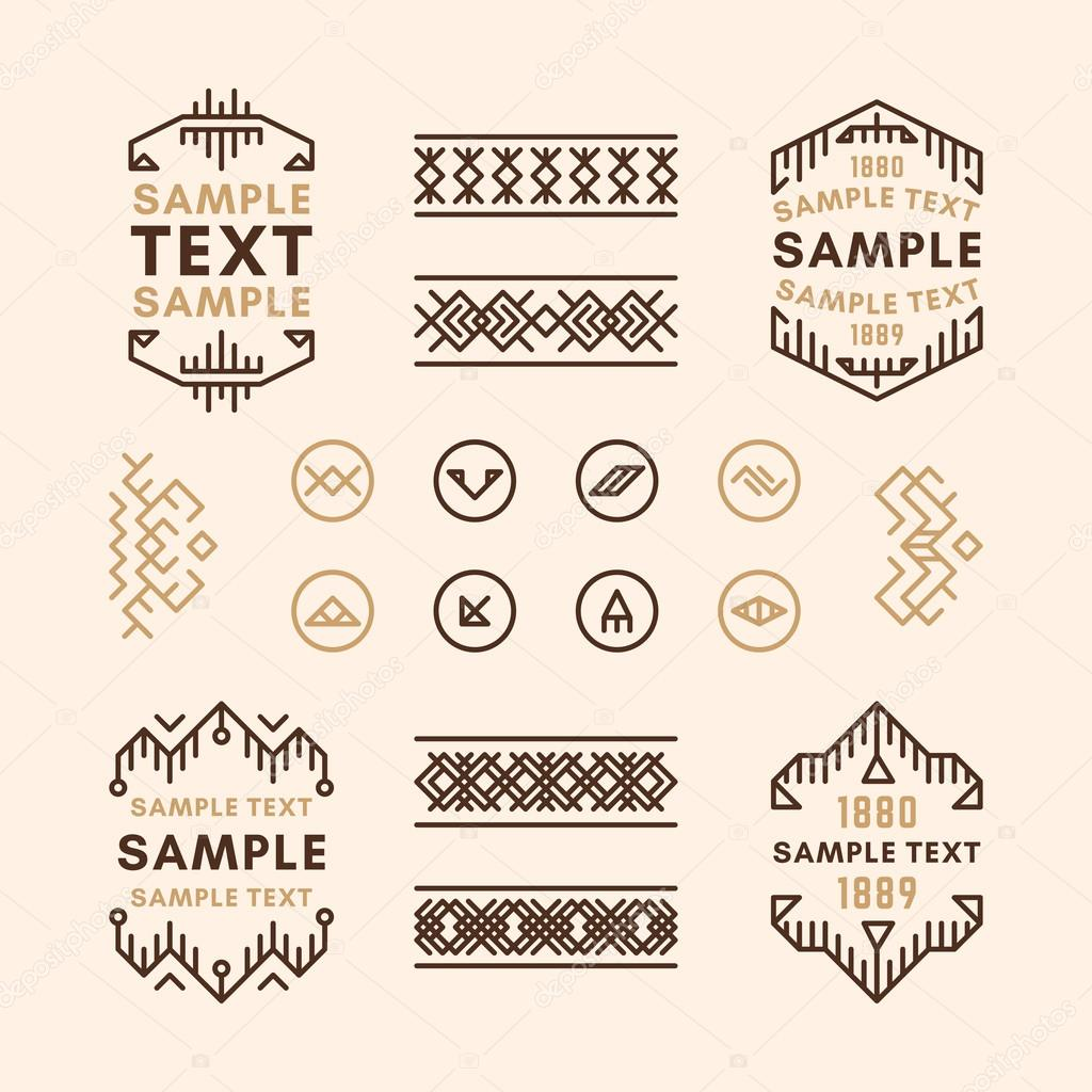 set of line art decorative geometric vector frames and borders in