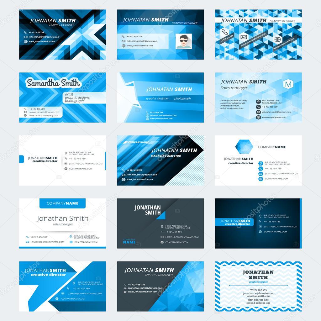 Satz von modernen kreativen Visitenkarten-Vorlagen. Blaue und ...