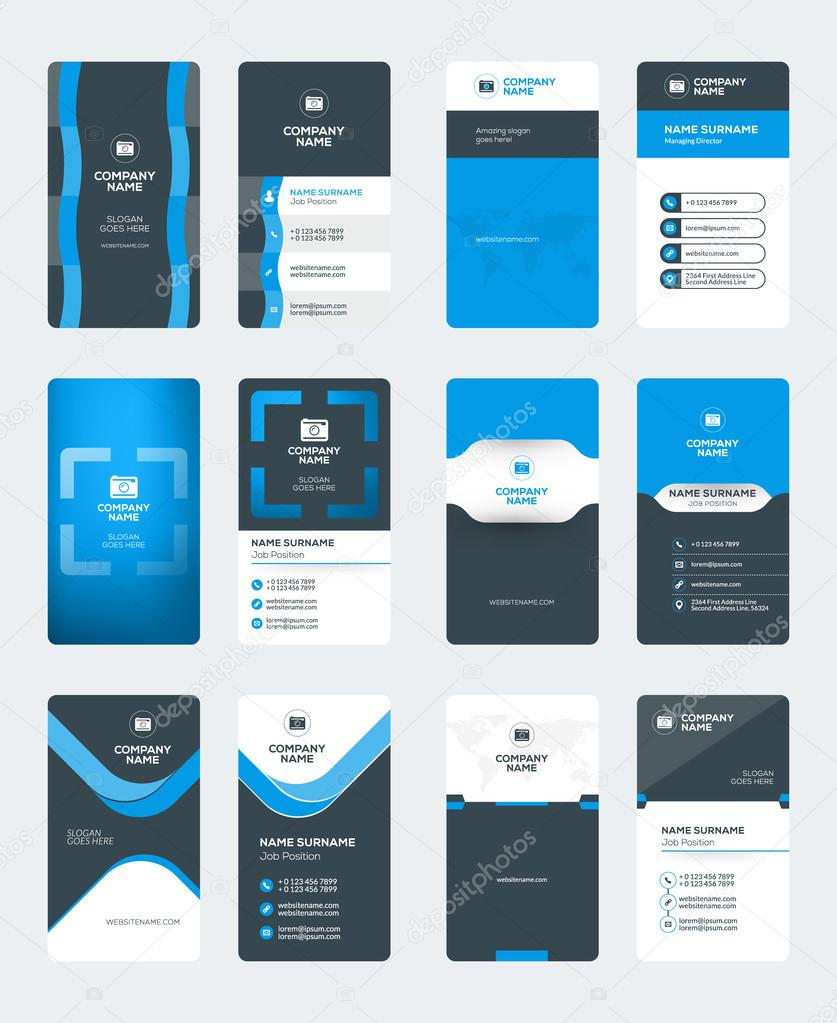 Set of modern creative business card templates blue and black set of modern creative business card templates blue and black colors vertical business cards reheart Choice Image