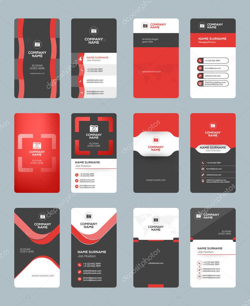 Business card templates stationery design vector set red and black business card templates stationery design vector set red and black colors vertical business reheart Image collections