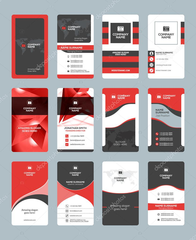 Business card templates stationery design vector set red and black business card templates stationery design vector set red and black colors vertical business reheart Images