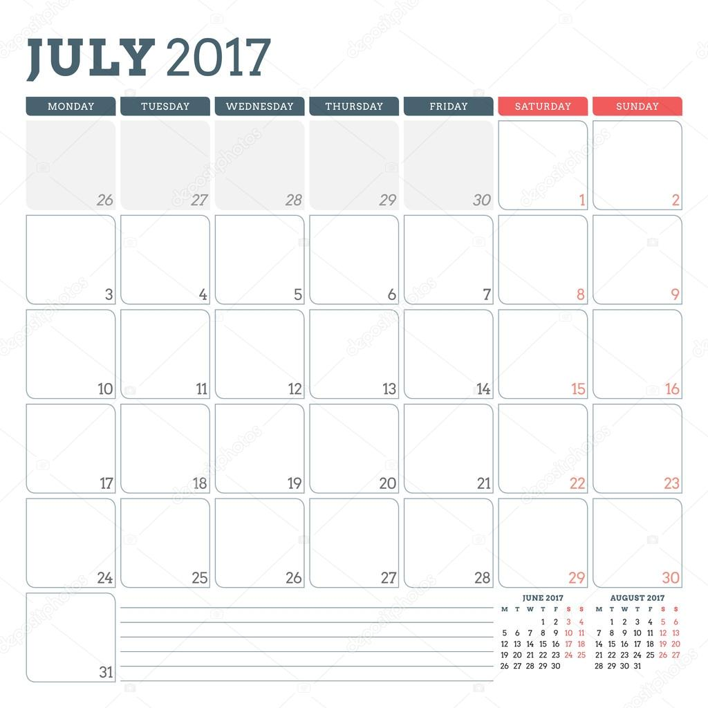 calendar planner template for july 2017 week starts monday 3