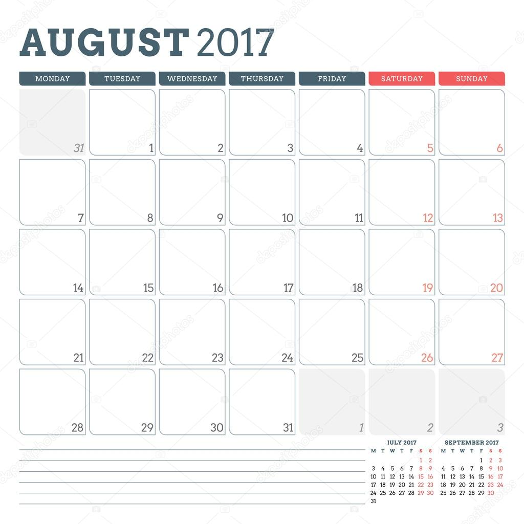 calendar planner template for august 2017 week starts monday 3