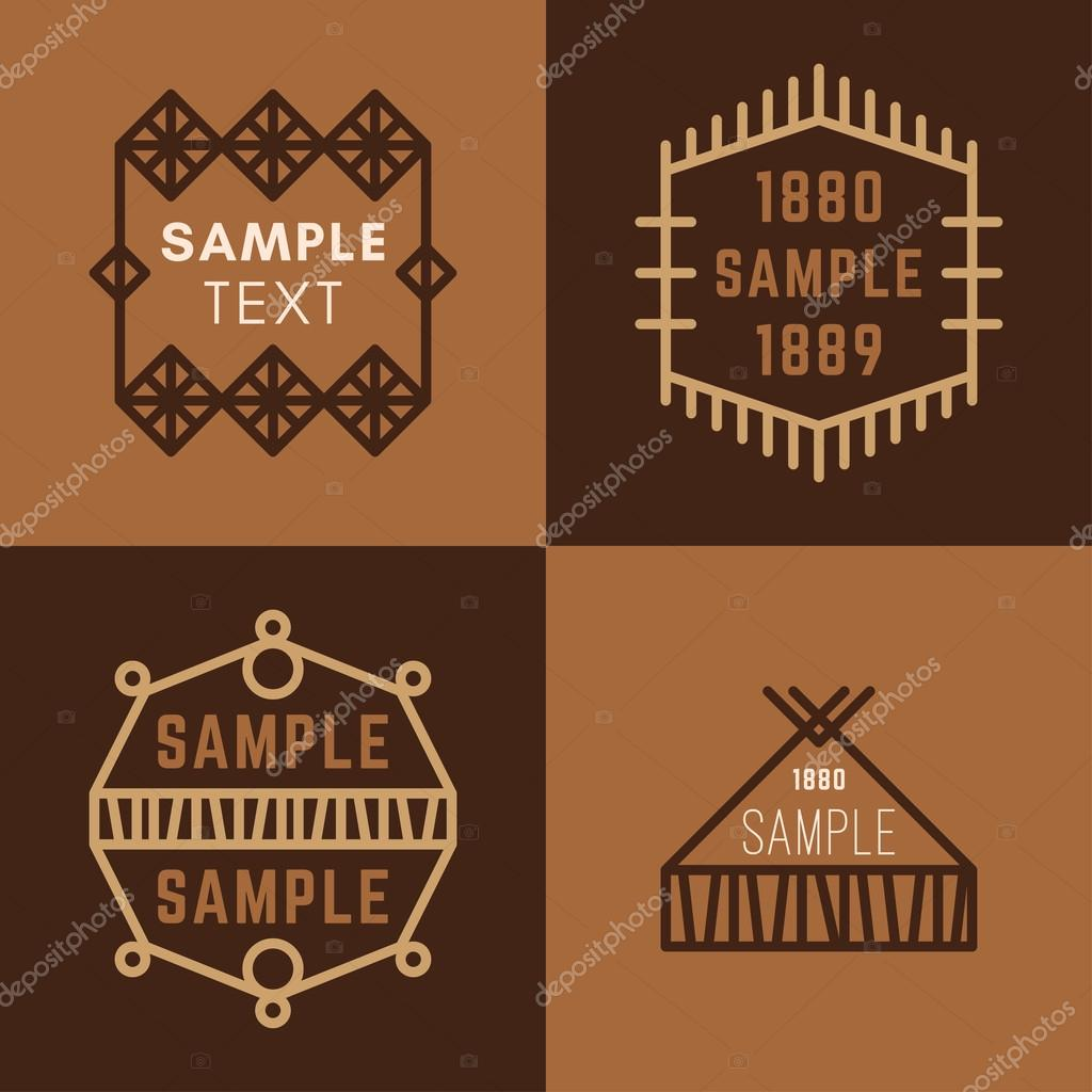 Set Of Four Line Art Decorative Geometric Vector Frames And Borders