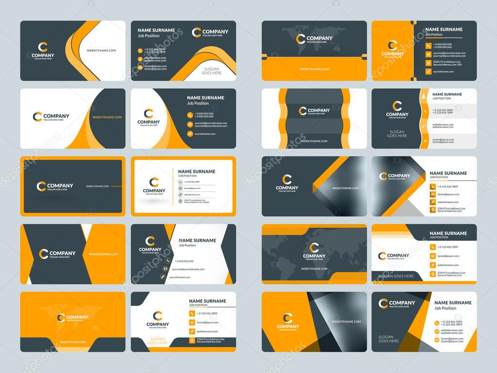Business card templates stationery design vector set orange and business card templates stationery design vector set orange and black colors flat style reheart Image collections