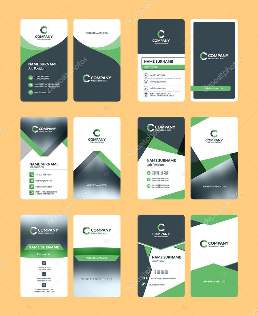 Vertical double sided business card templates stationery design vertical double sided business card templates stationery design vector set green and black reheart Images
