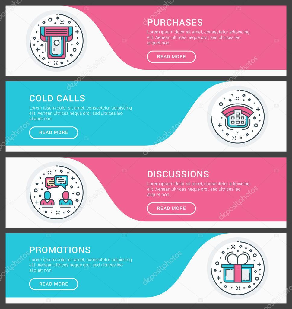 Conjunto de planos línea negocio web banner plantillas. Ilustración ...