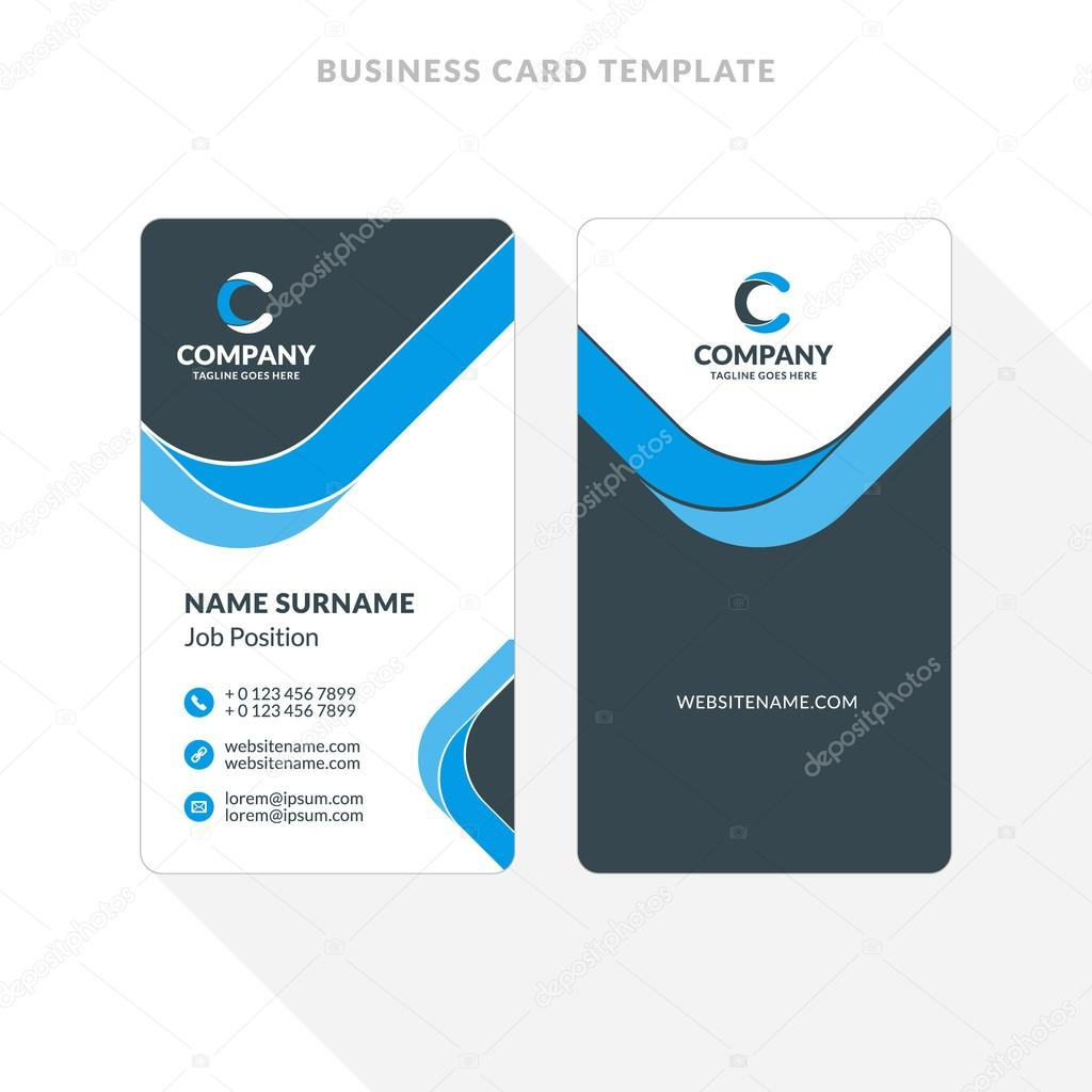 Vertical double sided business card template blue and black colors vertical double sided business card template blue and black colors flat design vector accmission Choice Image