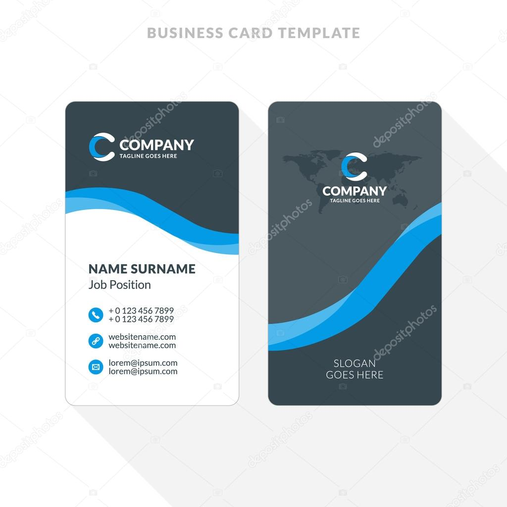 Vertical double sided business card template blue and black colors vertical double sided business card template blue and black colors flat design vector wajeb Image collections