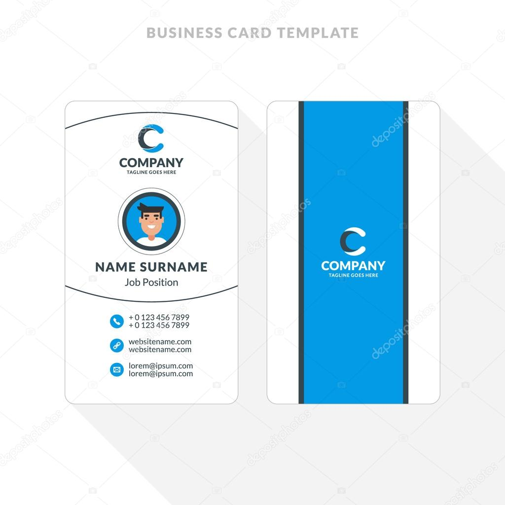 Vertical Double Sided Business Card Template Blue And Black Colors