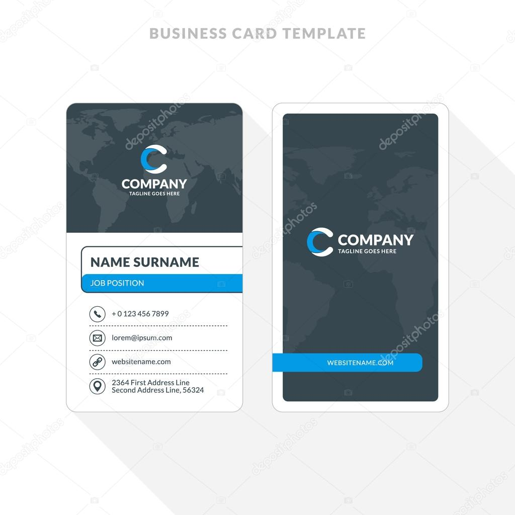 Vertical double sided business card template blue and black colors vertical double sided business card template blue and black colors flat design vector friedricerecipe Choice Image