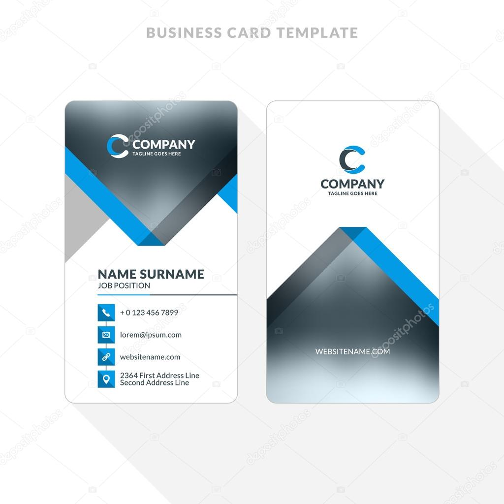 Vertical double sided business card template blue and black colors vertical double sided business card template blue and black colors flat design vector reheart Images