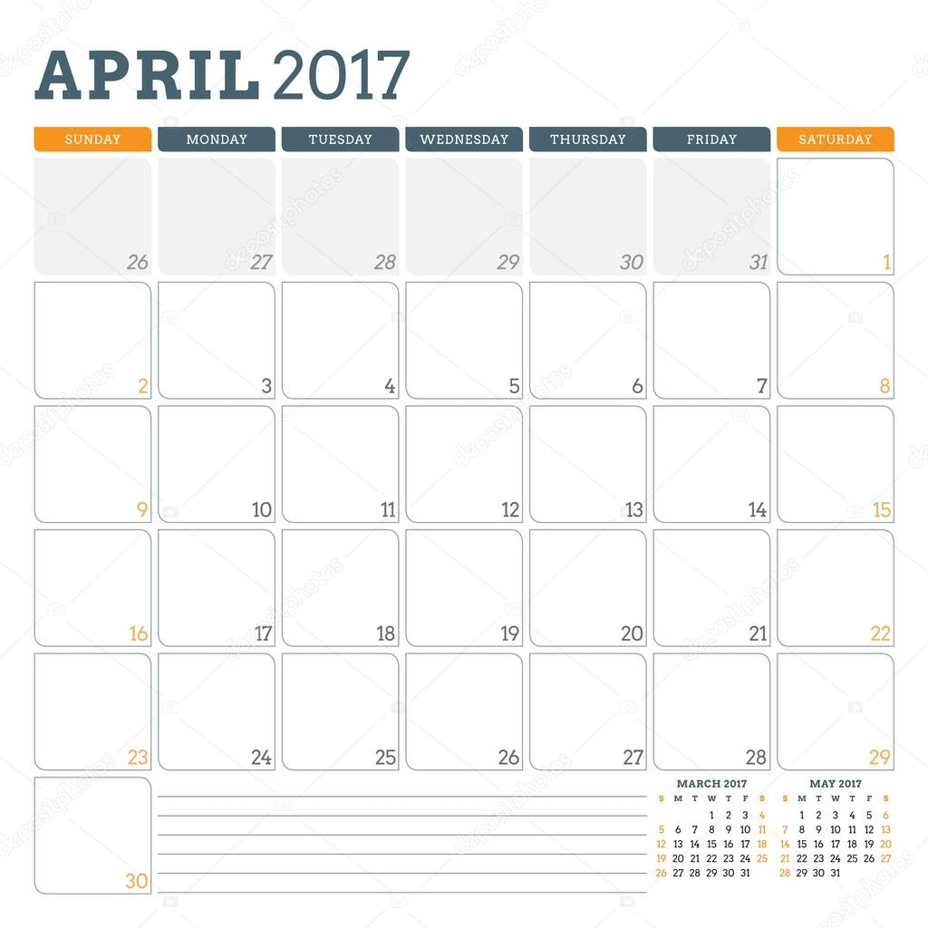 Calendar Planner Template for April 2017 Week Starts Sunday 3 – 3 Week Calendar Template