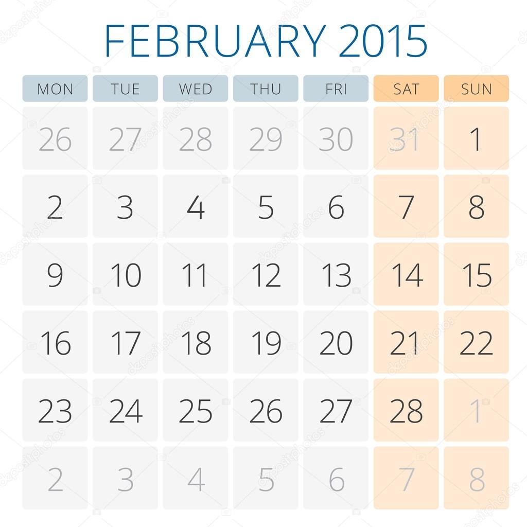 Kalender 2015-Februar-Vektor-Design-Vorlage — Stockvektor ...