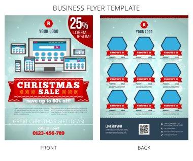 Christmas Sale Vector Business Flyer Template. EPS10