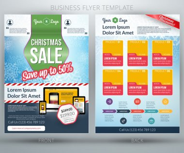 Vector business flyer template. For mobile application or online shop. Christmas sale